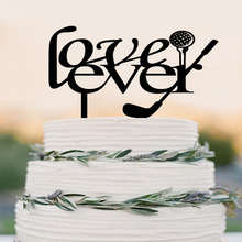 Love Ever Cake Topper - Custom Golf themed Cake Topper-Cake Toppers - Bride & Groom, Golf party decor(China)