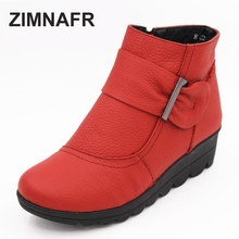 Snow boots  woman winter  cotton padded shoes boots Genuine  leather  Zip plus size  warm women boots Mom autumn boots