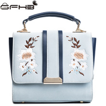 Women Flower Handbags Leather Crossbody Bags Famous Brands Michaeled Handbag Autumn Winter Fashion Embroidery Tote Bag Kabelky(China)