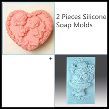 ElimElim Set of 2, Heart shape silicone soap molds angel,Christmas craft soap molds