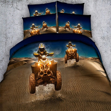 Blue Golden Desert Motorcycle Bedding Set 3D Comforter Cover 500TC Adlut/Boys Twin Full Queen King Bedspreads Pillowcase 3/4PC