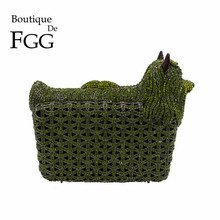 Boutique De FGG Green Crystal Rhinestones Dog Animal Women Evening Clutch Bag Metal Hardcase Bridal Purse Wedding Handbag