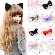 Cute Sale Women Fox Ear Headbands Fashion Adult Children Hair Accessories Sexy Plush Fox Cat Ears Hairbands(China)