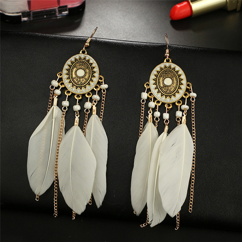 2018 Trendry Earrings for Women Vintage Women Bohemian Fashion Weave Tassel Earrings Long Drop Earrings Jewelry Brincos J05#N (4)