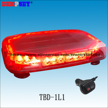 TBD-1L1 High quality Red LED mini lightbar,Car fire rescue flashing warning light,12V emergency light,Heavy magnetic base(China)