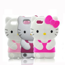3D Cute Cartoon Glasses Hello Kitty Case For Apple iPod Touch 6 6th Touch 5 5th KT With Bow Silicone Cover(China)