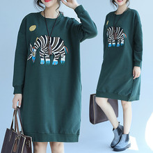 Plus Size 4XL 2017 Autumn Winter Women Fashion Embroidery Zebra Long Sweatshirt Tops Lady Female Big Thick Fleece T shirt Dress(China)