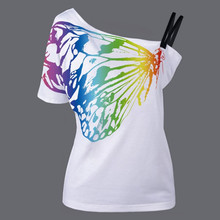 summer new t-shirts for women harajuku single shoulder strap T-shirt female butterfly t shirt lady vintage tops