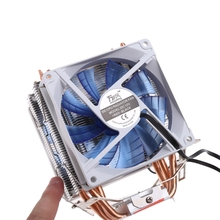 12V Dual CPU Cooler Blue LED 3Pin Fan Aluminum Heatsink For Intel LGA775  AM3
