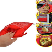 2PC NEW Red Washable Potato Bag For  Microwave Cooking Potato Quick Fast  (Cooks 4 Potatoes At Once) Steam Pocket In 4 Minutes