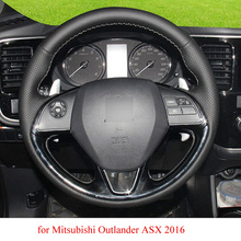 Black Leather Hand-stitched Car Steering Wheel Cover for Mitsubishi Outlander ASX 2016