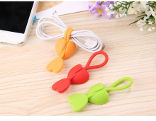 10PCS/Lot New Silicone Heart Shape Headphone Earphone Cable Wire Organizer Cord Holder Food Bag Bundle Tape