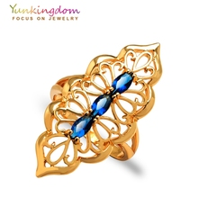 Yunkingdom punk hiphop big Rings for women jewellery Cubic zirconia jewelry  gold color personality party ring 4 colors