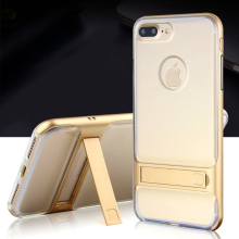 Slim Soft Rubber Silicon Clear TPU Cover With PC Frame kickstand Hybrid Luxury Case for iPhone 6 s 7 Plus cellphone cases