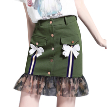 Buy 2018 New Army Green Ladies Skirt Bow Single Breasted Bottons Mini Skirts Women Mesh Patchwork Solid High Waist Skirts Pencil XL for $29.94 in AliExpress store