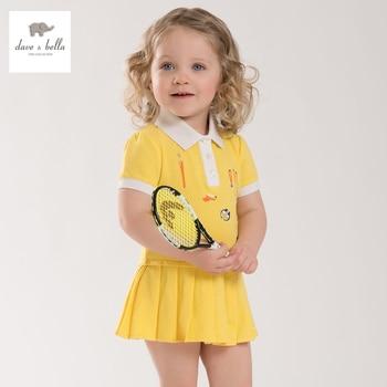 DB3938 dave bella d'été bébé teenis robe filles jaune sport robe enfants polo robe fantaisie élégant vêtements