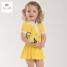 DB3938 dave bella summer baby teenis dress girls yellow sports dress kids polo dress fancy stylish clothes(China)