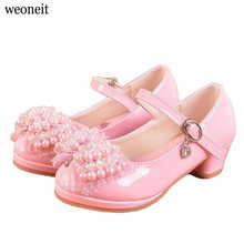 Weoneit 2017 Children Dress Shoes High Heel Girls Princess Sandals Kids Wedding Shoes Party Shoes for Girls Pink White(China)