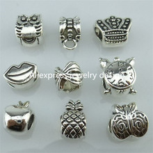 GLOWCAT 13934 36PCS Alloy Vintage Silver Clock Owl Big Lip Crown Apple Butterfly Pineapple Bead