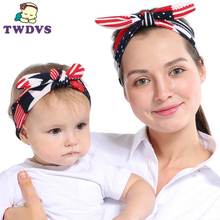 TWDVS 2 Pcs / Set Mom and Me Boho Turban Headband Knotted Elastic Bunny Ears Bowknot Matching Headband and Mother Headwrap(China)