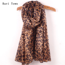 Ravi Town Fashion Brand Autumn Chiffon Scarf 2017 New Elegant Women Leopard Print Scarf Large Size Long Chiffon Scarves(China)