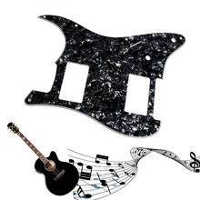 Wonderful Quality3Ply Guitar Pickguard Stratocaster Strat HH 2 Humbucker Pearl Black Guitar Parts(China)