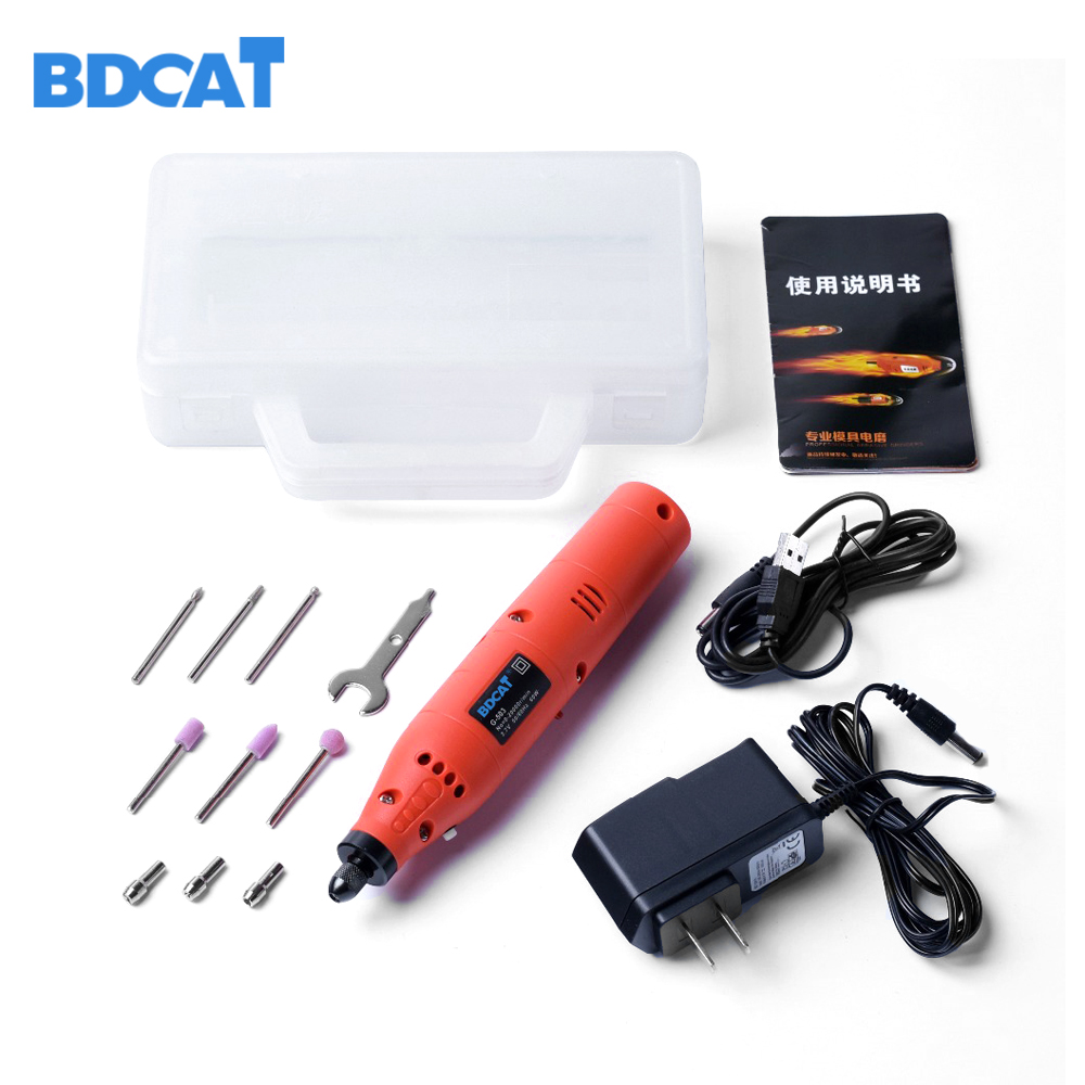 BDCAT 3.7V 60W Rechargeable mini Electric dremel Rotary Drill with 10PCS power Grinder Polish Sanding Tool Set Kit <br>