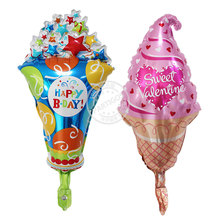 50pcs/lot Latest mini ice cream balloon with star sweet valentine foil globos inflatable balls for HAPPY B-DAY decoration