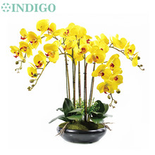 INDIGO- Phalaenopsis Orchid Silk Real Touch Flower Artificial Flower Wedding Flower Orchid Floral Christmas Party Free Shipping(China)