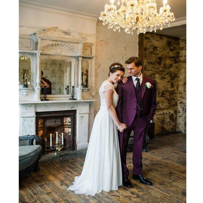 32-1 Vintage Purple Mens Suits Notched Lapel Tuxedos For Men Wedding Suits For Men Two Button Grooms Suits(jacket+pants+vest)