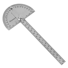 0-180 Degree Stainless Steel Round Head Rotary Measuring Ruler Adjustable Angle Protractor for Industrial Measurement(China)