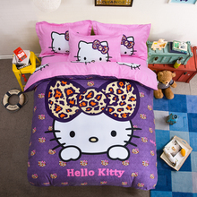 Cotton Hello Kitty Bedding Set 3D Cartoon Mickey Mouse Stitch Doraemon Printed for Baby Kids Gift Bed Linen Twin Full Queen Size(China)