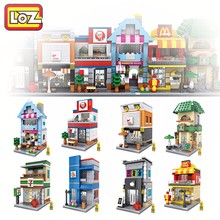 8 types City Series Mini Street Model Store Shop with Apple Store McDonald`s Building Block Toys action figures(China)