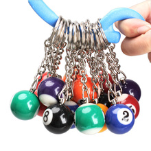 16PCS Snooker Ball Set Keychain Billiards Pool 25mm Ball Keyring Fashion Gift For Men Women C200(China)