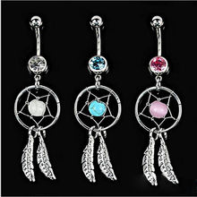 Body piercing Art Crystal Green Stone Dream Catcher Navel Dangle Belly Barbell Button Body Jewelry Bar Ring