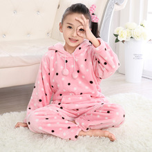 2017 Girls pajamas Minnie Sleepwear Children warm Loungewear infantil Coral Fleece pijama Kids Flannel Homewear for Girl Pyjamas(China)