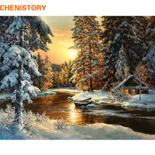 CHENISTORY Sunset Forest DIY Painting By Numbers Canvas Wall Art Picture Painting Calligraphy For Living Room Home Decor 40x50cm(China)