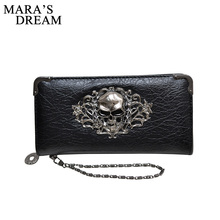 Mara's Dream Fashion Vintage Skull Ladies Long Handbag Zipper Wallet Skeleton Purse Clutch Card Holder Wallet carteira feminina(China)