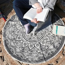Nordic style handmade decoration carpet 90*90cm , round shaped ground mat , non-slip mandala office chair mat ,floor carpet(China)