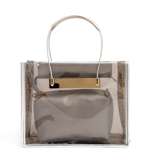 Cute Jelly Top-handle Bags Women's Casual Transparent Handbag Plastic Messenger Bags with Chains