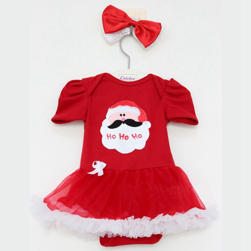 Santa Claus Baby Christmas Costume Girls Red Christmas Dress Headband Vestido Robe Bebe Fille Kids Party Clothes Infant Clothing<br><br>Aliexpress
