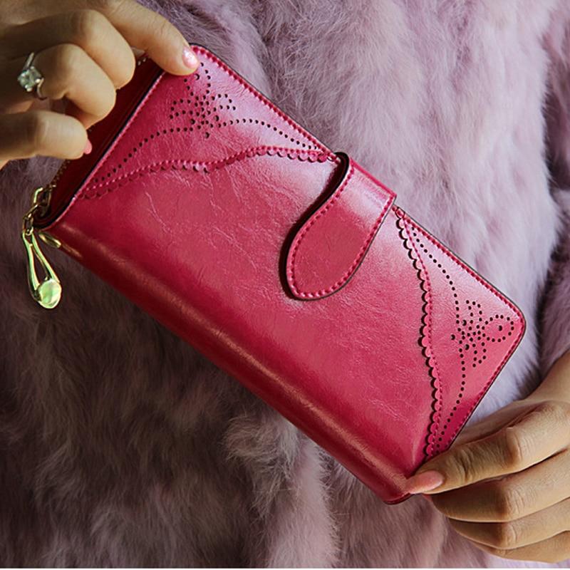 2015 Vintage Wallet for Women Purse Genuine Leather Ladies Wallets Large Zipper Long Wallet Women Phone Pouch Wrislet Purses<br>