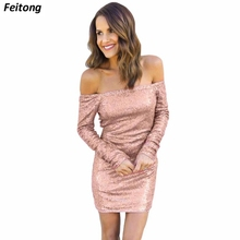Feitong Women Sequined Dress Sexy Long Sleeve Shoulder Party Bandage Pink Black #EC - POP SKU store