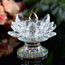 Crystal Glass Lotus Candle Holder Candlestick Candelabra Lighthouse Holder Tealight Crafts Home Wedding Decor(China)