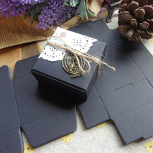 55x55x25mm Blank Black Snak Party Box, Small Black Paper Kraft Gift Paper Box Cookies Cake Candy Box