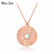 Miss Zoe Starburst Hammered Necklace Crystal Rhinestone Pendant Necklace Rose Gold Simple Fashion Jewelry Gift for Women Friends