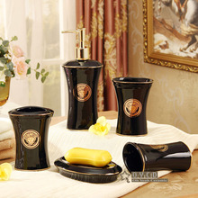 Porcelain bathroom sets ceramic bathroom sets the woman's head design black and white glazed accessories bathroom sets gifts
