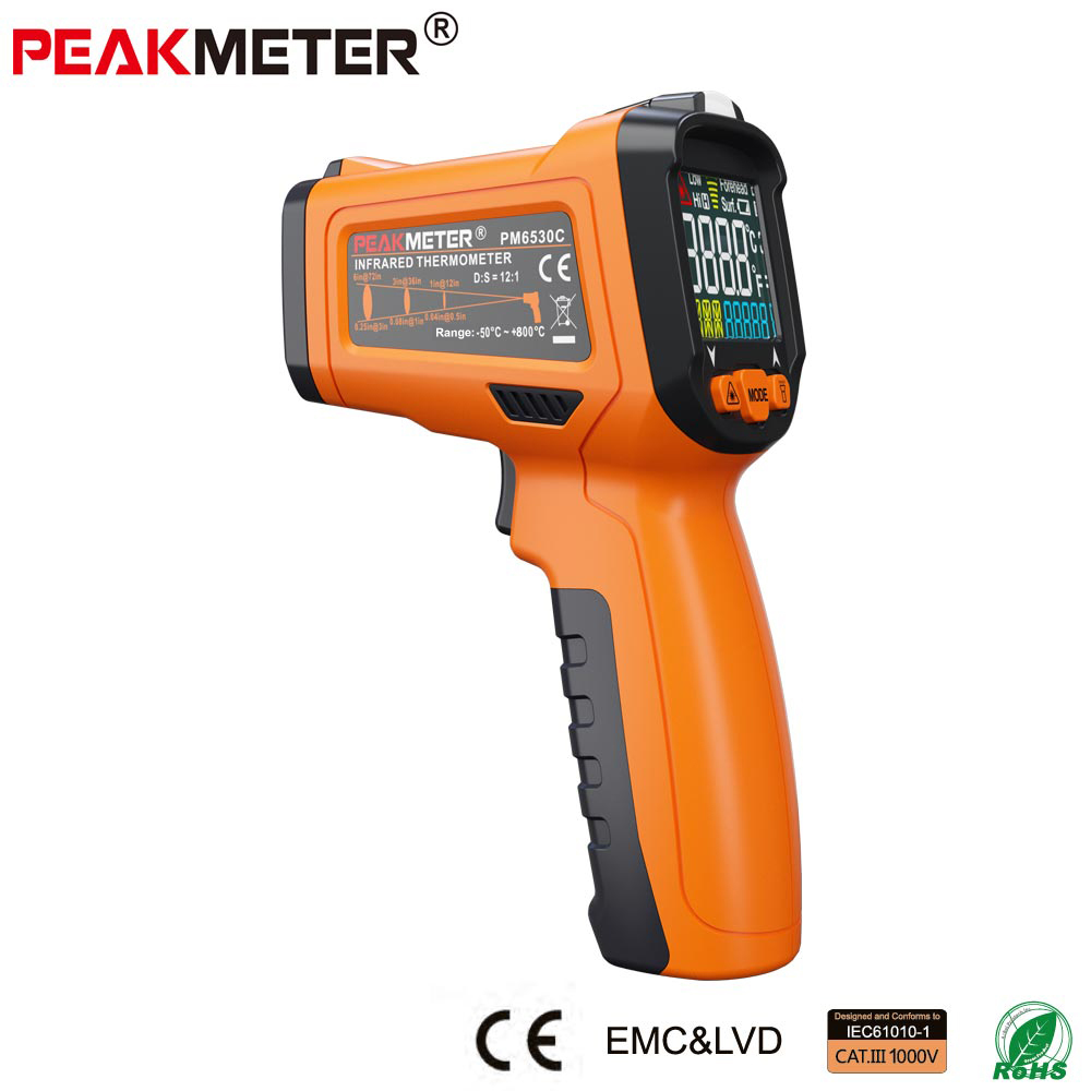 PEAKMETER PM6530C LCD Handheld Laser Digital IR Infrared Thermometer Temperature -50~800 with K type Ambient UV Light <br>