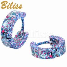 Men Women Stainless Steel Small Hoop huggie Earrings Camo Colors Unique Jewelry 3 Type Selectable 13mm Round pendientes(China)
