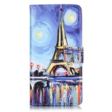 for ZTE Blade V 7 Leather Cases Embossed Leather Wallet Phone Cover for ZTE Blade V7 - Starry Sky and Eiffel Tower